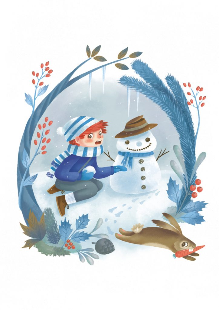 Illustration of a kid making a snowman and a bunny stealing a carrot