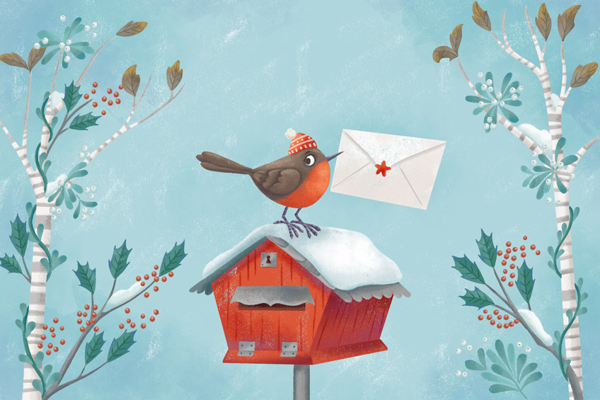 Illustration of a cute robin with a letter in his beak on a mailbox