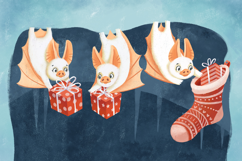 Illustration of white bats exchanging gifts