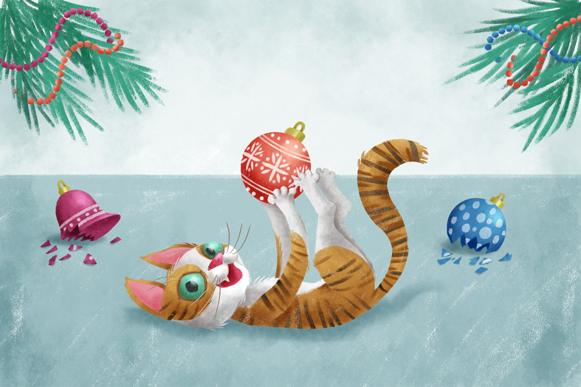 Illustration of a cat playing with Christmas decorations
