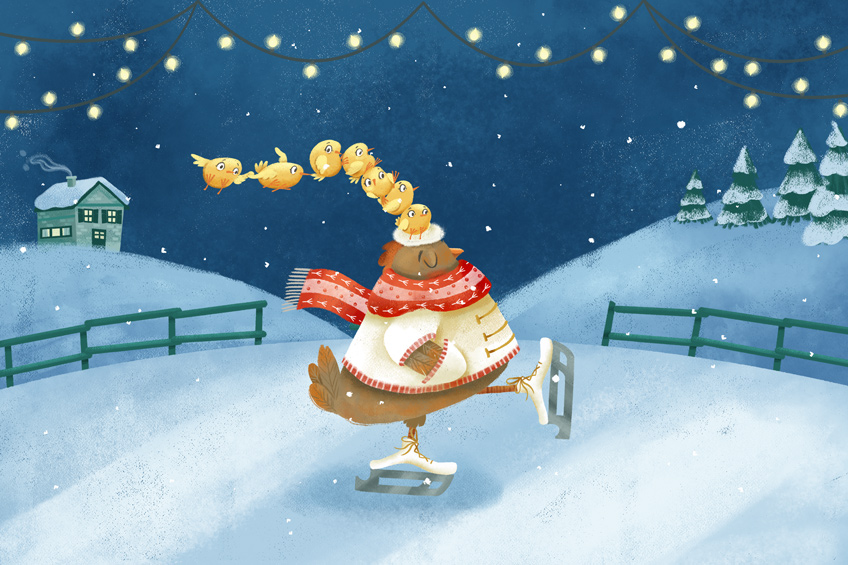 Illustration of a hen ice skating with chicks on her head