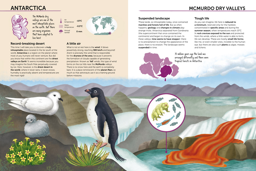 Double spread of the book Ecosystems to protect: Antarctica ecosystem