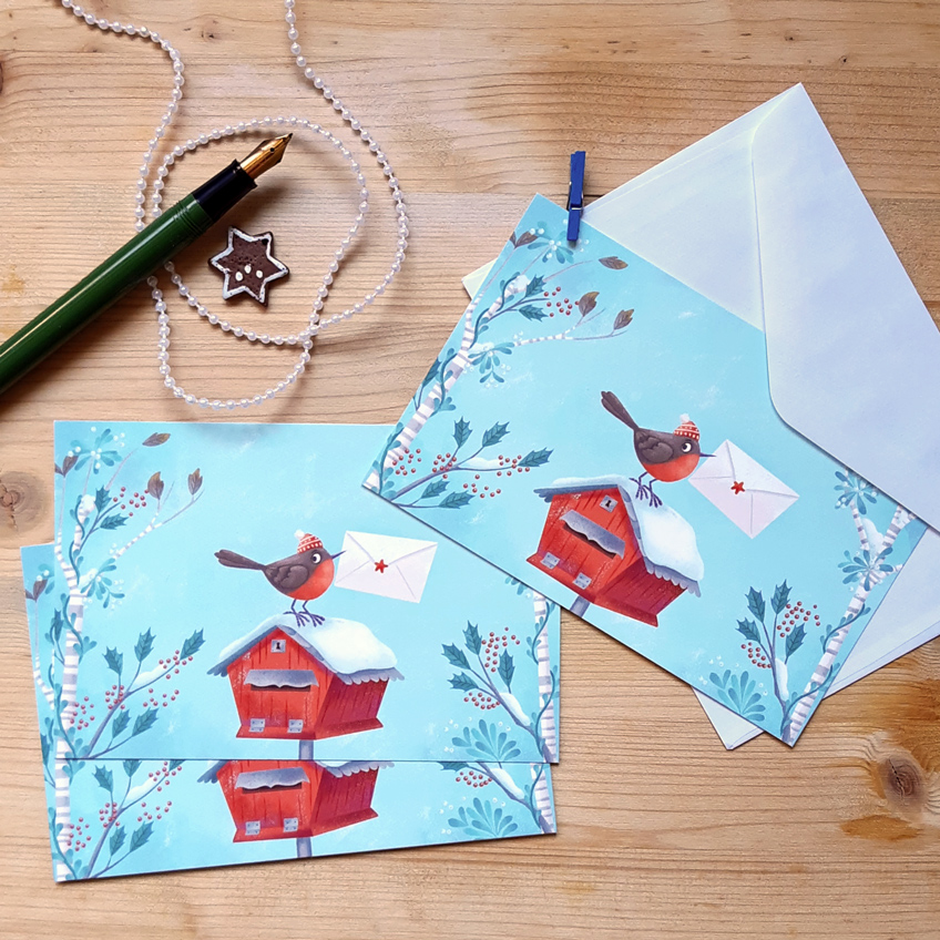Christmas postcards with a robin and a mailbox
