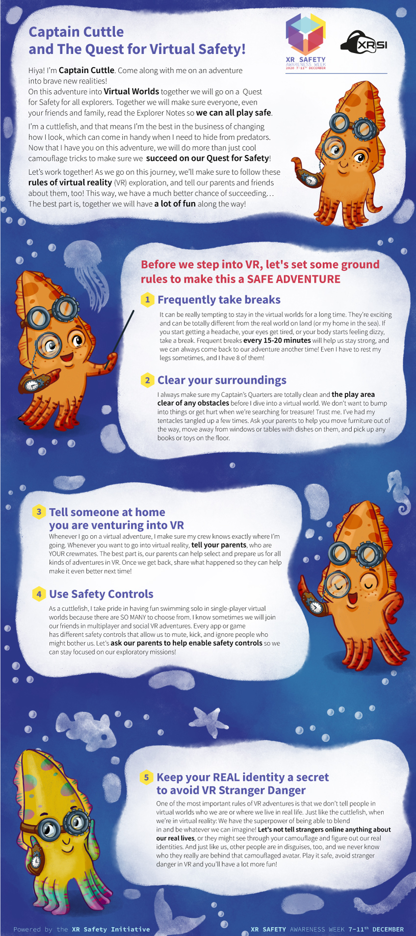 Infographic children safety in vr environment with the character captain cuttlefish