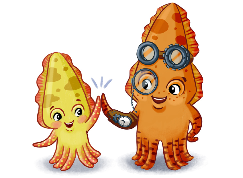 Illustration of Captain Cuttle, a cuttlefish a with steampunk armband and goggles. Captain Cuttle gives a high five to a child-cuttlefish