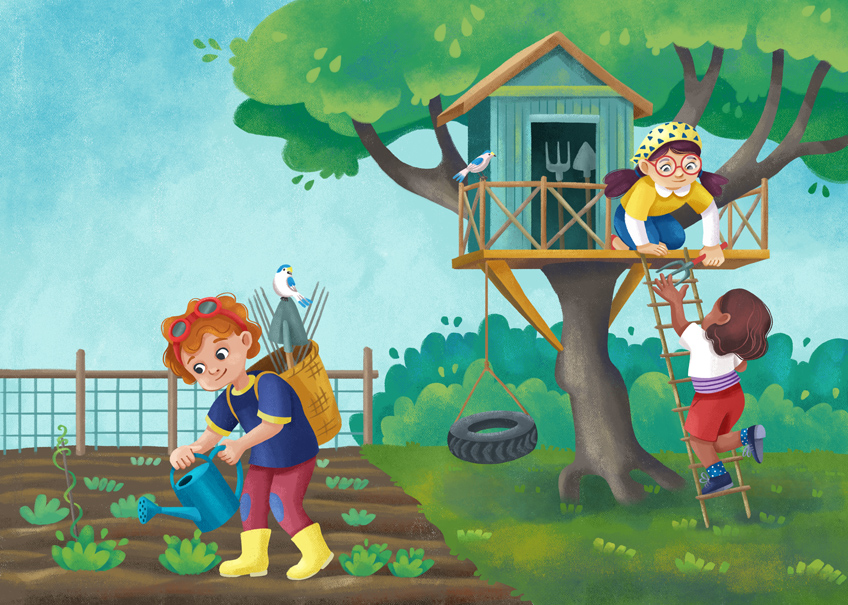 Three children are taking care of a vegetable gardening. A boy is watering the sprouts, and two girls are climbing a tree house.