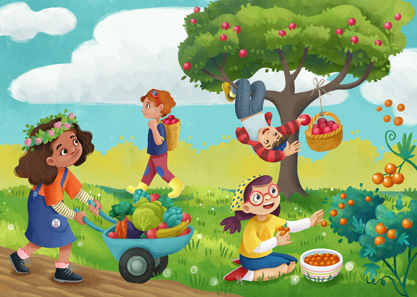 A group of children is harvesting fruits and vegetables, a girl is pushing an hand-cart full of vegetables, a boy has a pack-basket full of apples, a girl is picking small tomatoes, a boy is swinging on a tree and picking apples.