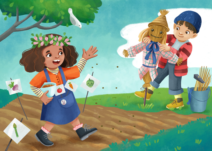 Two children planting seeds. The boy is putting up a scarecrow, the girl is launching seeds and walking.